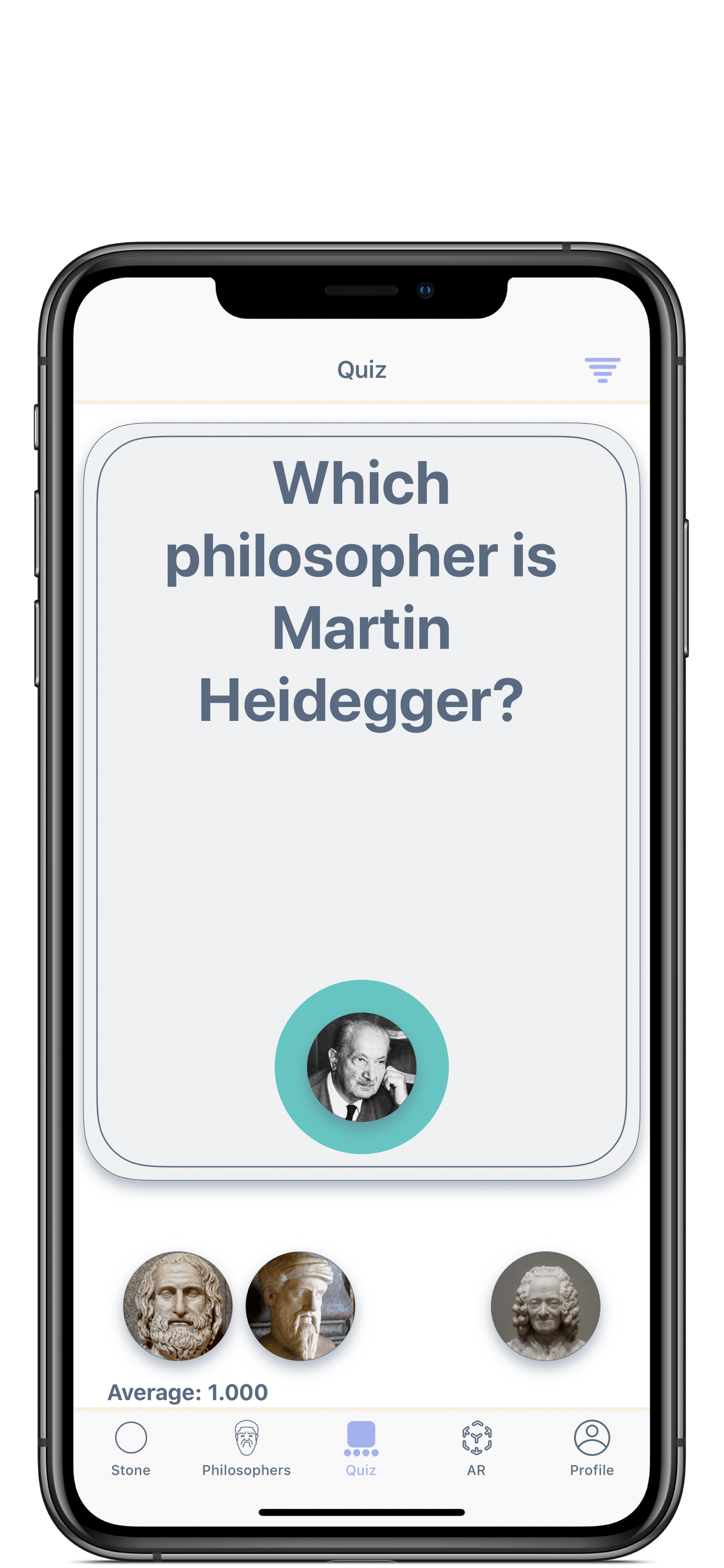 Philosophers quiz screen